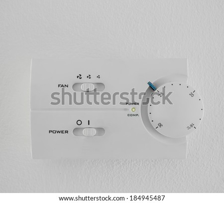 twenty five  celsius heating and cooling air conditioning white display - stock photo