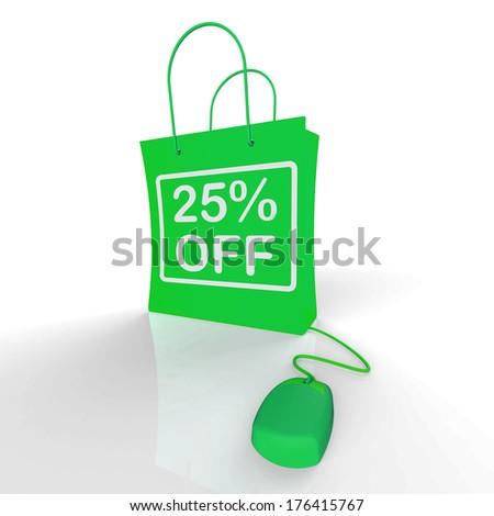 Twenty-five Percent Off Bag Represents Online Shopping 25  Disco - stock photo