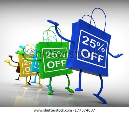 Twenty-five Percent Off Bags Show 25 Discounts - stock photo