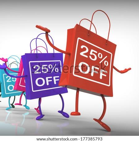 Twenty-five Percent Off Bags Shows 25 Sales - stock photo