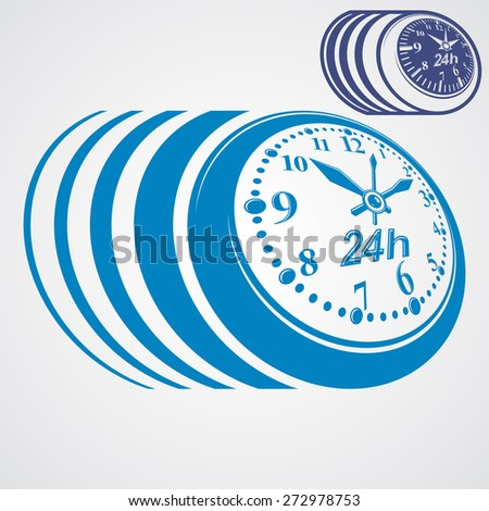 Twenty-four hours a day conceptual highly detailed illustration. 24 hours icon, includes additional version. - stock photo