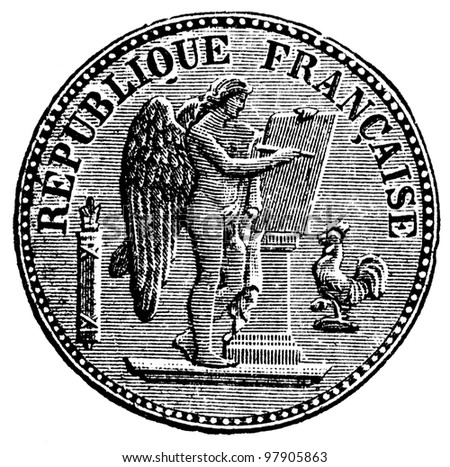 """Twenty francs, France, 1890s - an illustration to articke """"Coins"""" of the encyclopedia publishers Education, St. Petersburg, Russian Empire, 1896 - stock photo"""