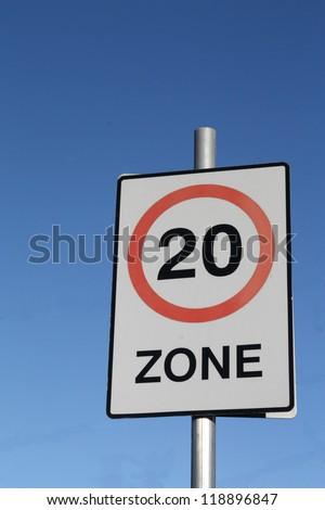 Twenty miles per hour speed limit sign - stock photo