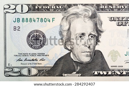 Twenty paper U.S. dollars bill macro. - stock photo