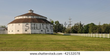 Twenty sided round white barn - stock photo
