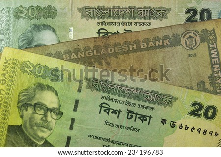 Twenty Taka bill, Bangladesh. Bangladeshi banknotes are among the most dirty, contaminated ones in the world.  - stock photo
