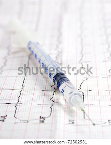 twenty units of insulin on ecg - stock photo