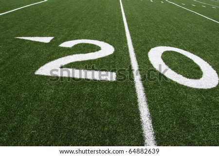 Twenty Yard Line of an American Football Field angled for effect - stock photo