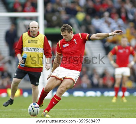 TWICKENHAM, ENGLAND - OCTOBER 10 2015:  during the 2015 Rugby World Cup Pool A match between Australia and Wales at Twickenham Stadium on October 10, 2015 in London, United Kingdom. - stock photo