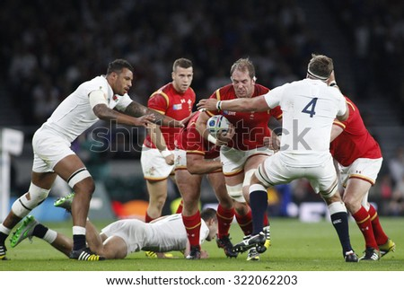 TWICKENHAM, ENGLAND - SEPTEMBER 26 2015:  The 2015 Rugby World Cup Pool A match between England and Wales at Twickenham Stadium, on September 26, 2015 in London, United Kingdom. - stock photo