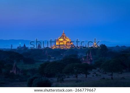 twilight at ancient temple in Bagan , Myanmar - stock photo