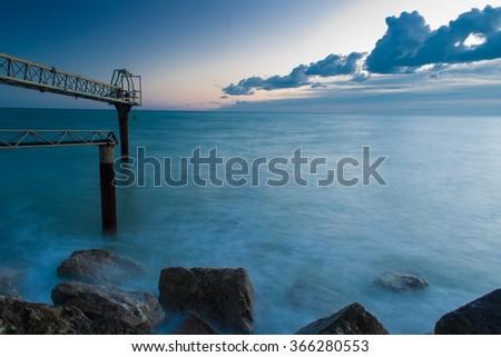Twilight at the seaport - stock photo