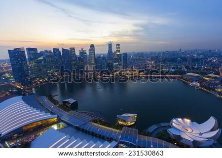 Twilight cityscape business area of Singapore - stock photo
