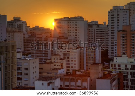 Twilight in the city of Sao Paulo Brazil - stock photo