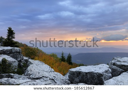 Twilight in West Virginia Mountains - stock photo