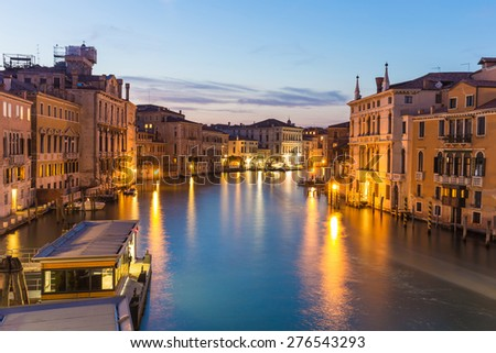 Twilight of Grand Canal in Venice, Italy. - stock photo