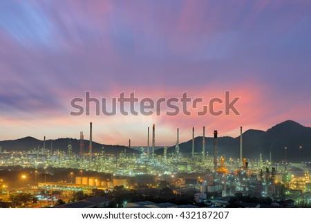 Twilight of oil refinery plant, Oil refinery with twilight skies, Luminosity of oil refinery plant, Landscape of oil refinery plant. - stock photo