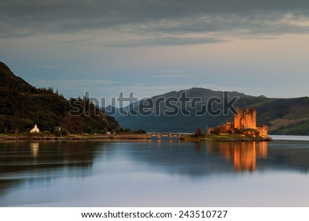 Twilight on a castle in Scotland  - stock photo