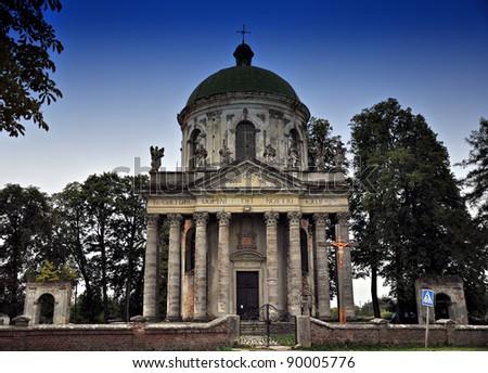 Twilight over Cathedral at Pidhirtsi, Pidhirtsi Castle near Lviv - stock photo