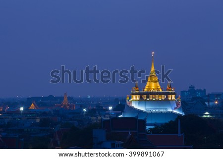 Twilight over Golden mountain Temple, Thailand's tourist destination in Bangkok - stock photo