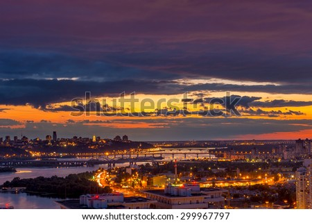 Twilight panoramic cityscape. Aerial view from eastern Kiev. Ukraine. - stock photo