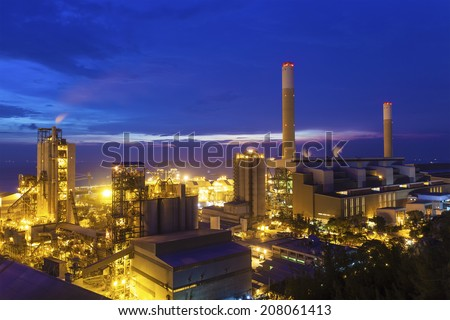 Twilight photo of power plant - stock photo