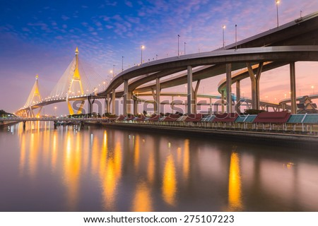 Twilight Scene Bhumibol Bridge, Bangkok, Thailand - stock photo