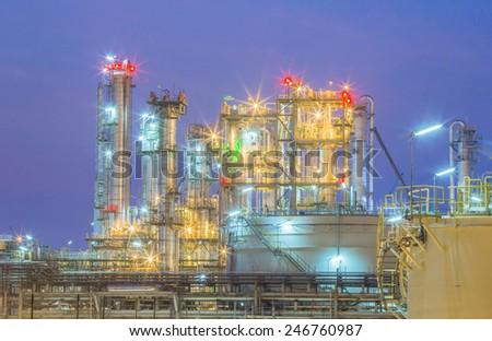Twilight scene of Petroleum and chemical plant - stock photo