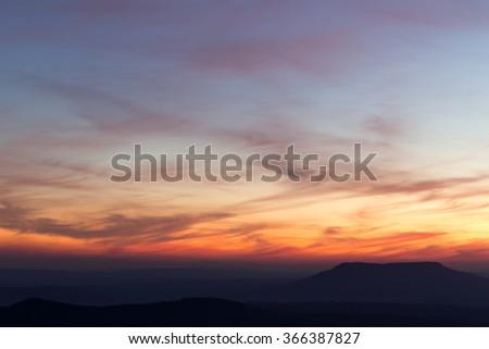 Twilight sky and Mountain background - stock photo