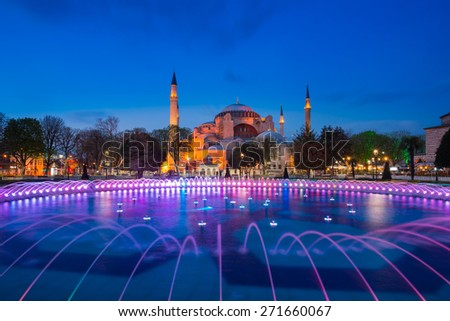 Twilight time scene of  Ayasofya or Hagia Sophia, a former Orthodox patriarchal basilica, later a mosque and now a museum in Istanbul, Turkey  - stock photo