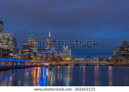 Twilight time, Skyline at Melbourne city, Victoria, Australia. - stock photo