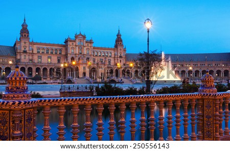 twilight view of Plaza de Espana. Seville - stock photo