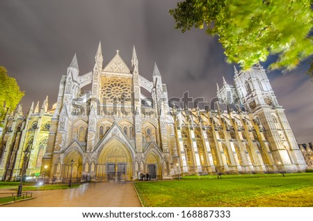 Twilight view of Westminister Abbey cathedral wide angle and long exposure, London, United Kingdom - stock photo