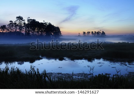 Twilight with Fog Over Salt Marsh - stock photo