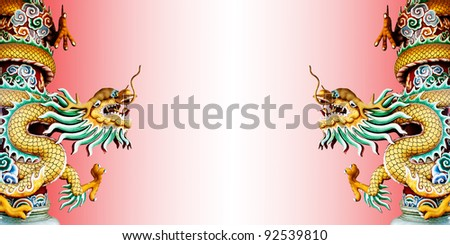 Twin Chinese style dragon statue with abstract  background. - stock photo