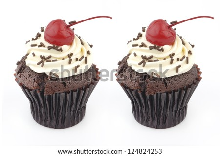 twin cupcakes - stock photo