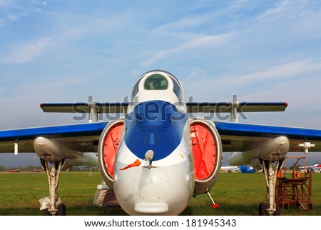 Twin-engined small jet on a parking place - stock photo