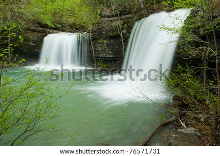 Twin Falls at Richland Creek Wilderness Area deep inside the Ozark National Forest. - stock photo