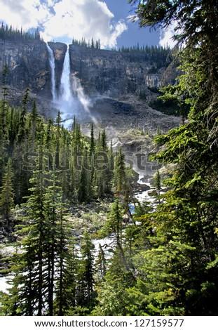 Twin Falls, Yoho National Park, British Columbia, Canada - stock photo