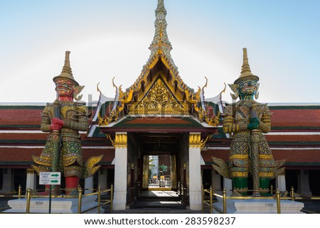 Twin Giant in Wat Phra Kaew temple or Thailand grand palace - stock photo