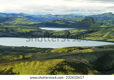 Twin lakes Kambavatn and Lambavatn in Lakagigar, Iceland - stock photo