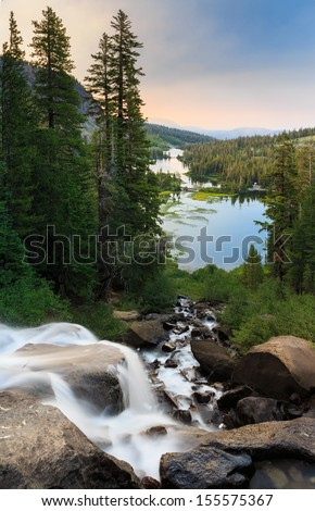 Twin lakes waterfall at sunrise near Mammoth Lakes, California - stock photo