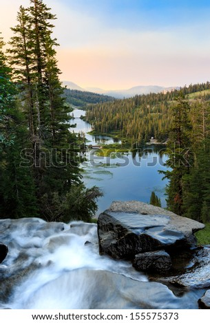 Twin lakes waterfall at sunrise near Mammoth Lakes, California - stock photo