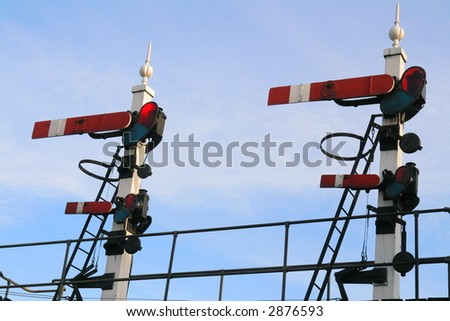 Twin Railway Signal Gantry - stock photo