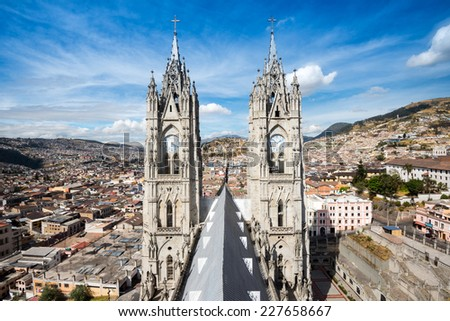 Twin steeples of the Basilica del Voto Nacional in Quito, Ecuador - stock photo