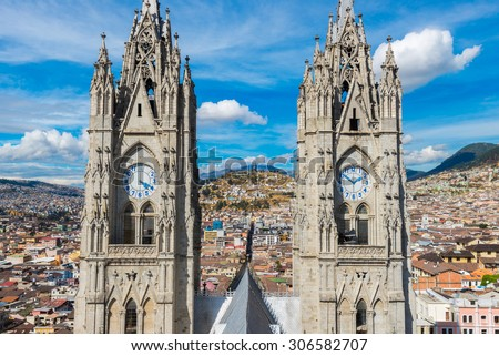 Twin steeples of the Basilica del Voto Nacional, Quito, Ecuador - stock photo