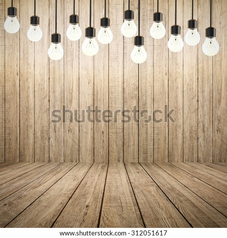 twinkle lights with wooden backdrop illustration - stock photo