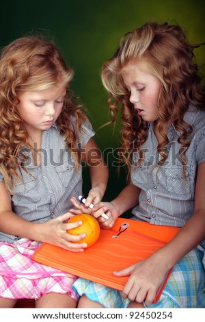 Twins - portrait - stock photo