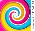 Twirled vortex as colorful abstract background made of cmyk colored glossy curve tubes on white - stock photo