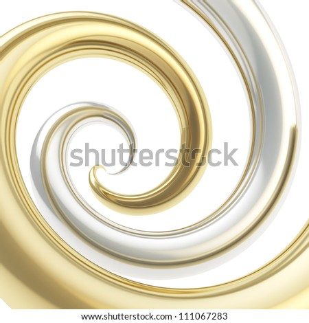 Twirled vortex as colorful abstract background made of golden and chrome silver metal glossy curve tubes on white - stock photo